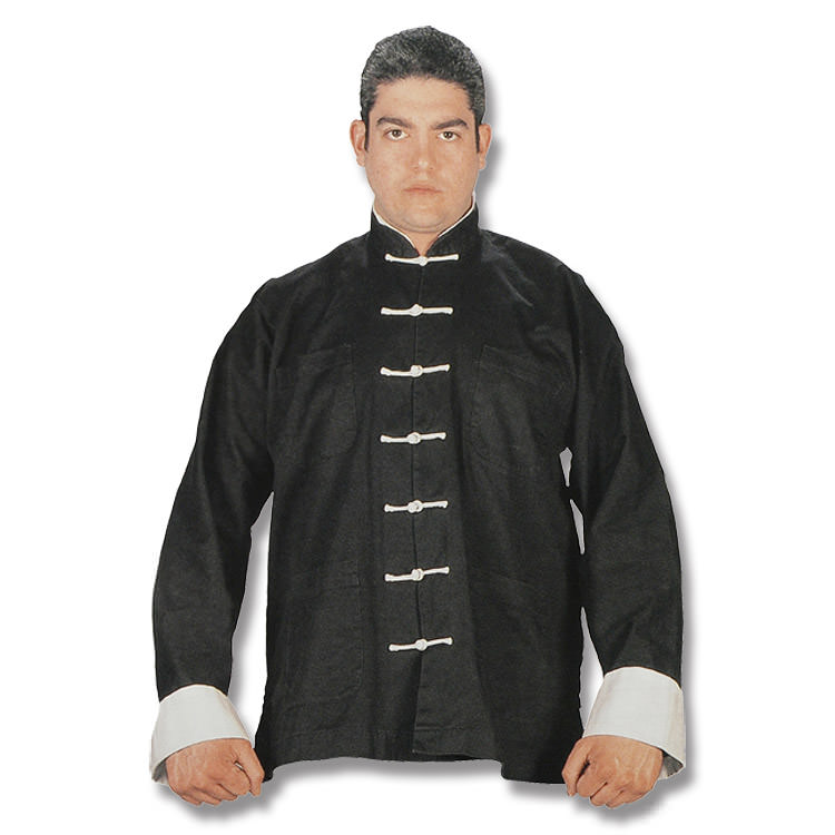 Black Kung Fu UNIFORM with White Buttons - Medium
