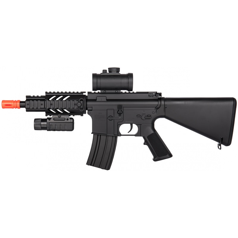 M4 CQB RIS Airsoft AEG Rifle with Flashlight and Red Dot Scope