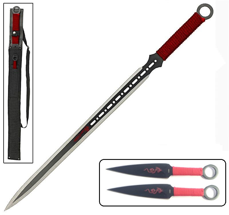 Red Dragon Full Tang Ninja Sword With 2-Pc Kunai Throwing Knife Set