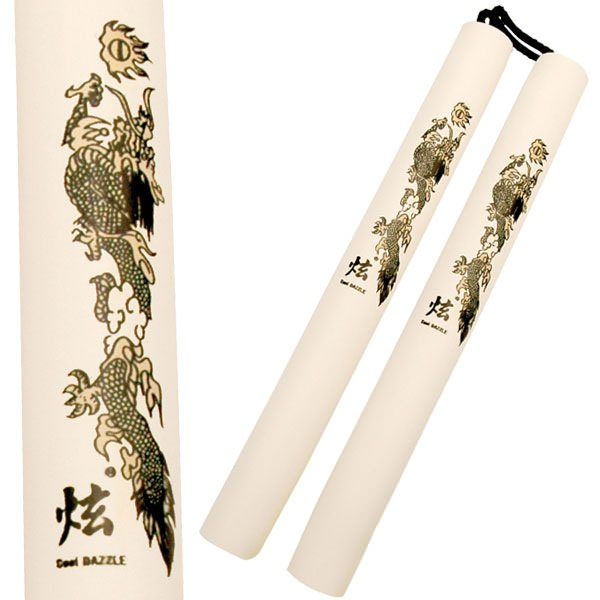 Foam Covered Corded White Dragon Nunchucks