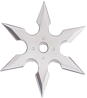 6-Point Silver Stainless Steel Throwing Star with Pouch - 2.75