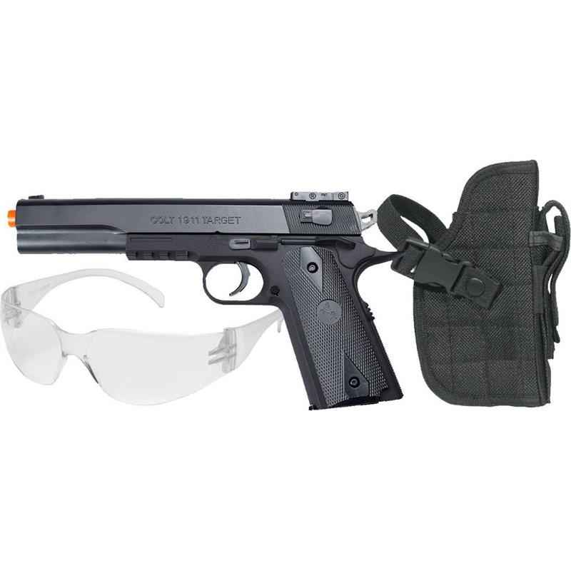 ''Colt 1911 Spring Airsoft Pistol Kit, Includes Holster and Safety GLASSES''