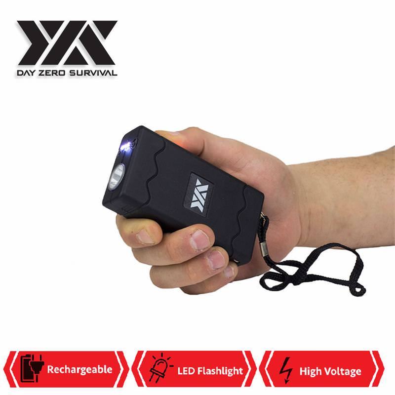 DZS Rechargeable Black Stun Gun with Safety Disable Pin LED Flashlight