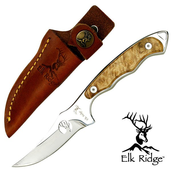 Burl Wood Handle HUNTER Fixed Hunting SKINNER Hunting Knife