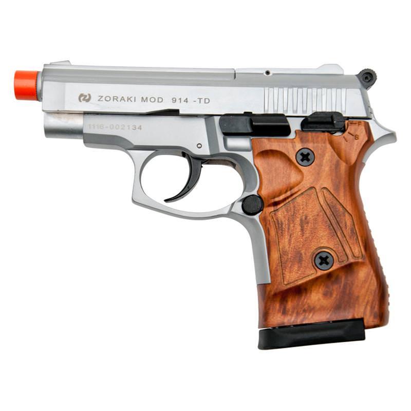 Zoraki Front Fire M914 Silver With Wood Grips 9mm Blank Gun