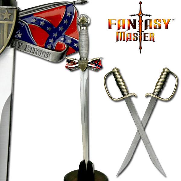 Rebel Flag Civil War Dagger with 2 Swords letter opener
