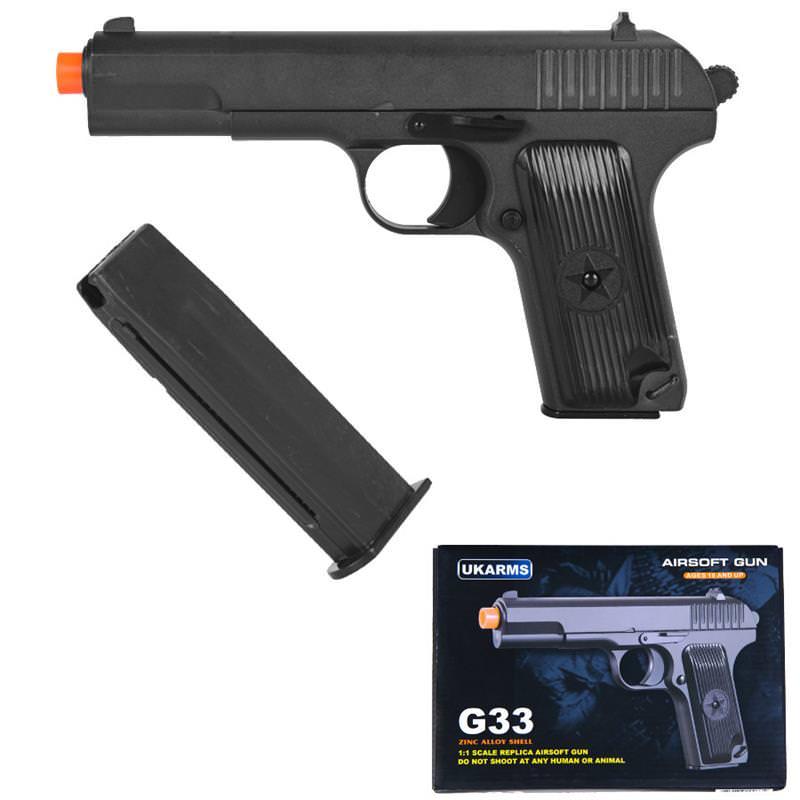 ''G33 Full Metal Military Airsoft Spring Pistol Hand GUN 8'''' Overall''