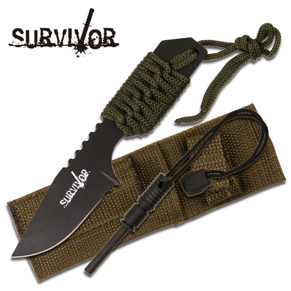 ''7'''' Green Cord Wrapped Full Tang Mini SURVIVAL KNIFE With Fire Starter''