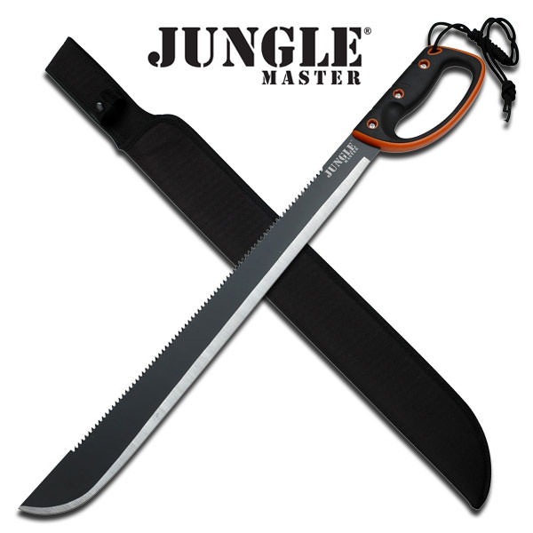 28 Inch Survival Machete with Black Handle With Orange Rim