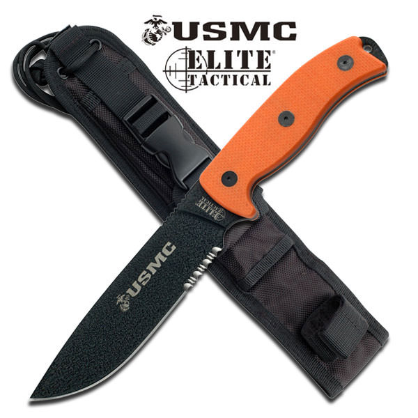 Semper Fi 5MM Thick Blade US Marines Fixed Blade Knife Orange