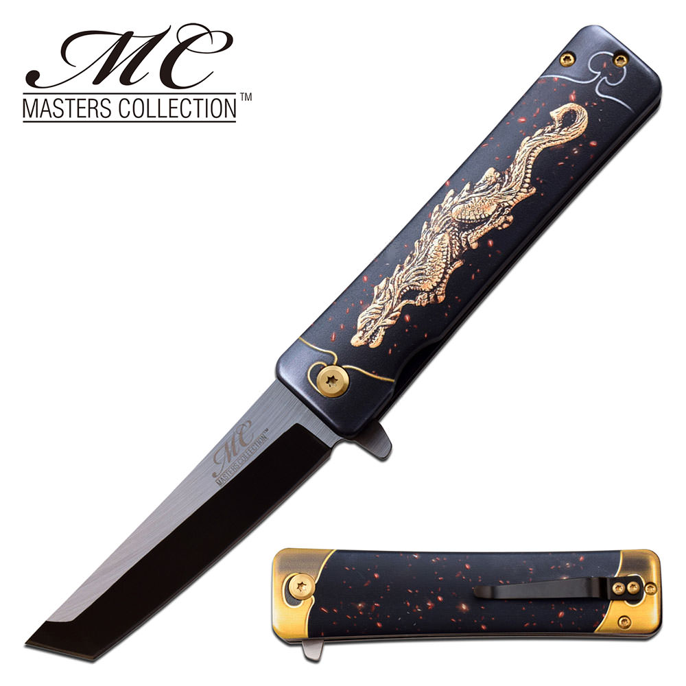Pocket Knife with Tando Blade Spring Assisted Knife Dragon