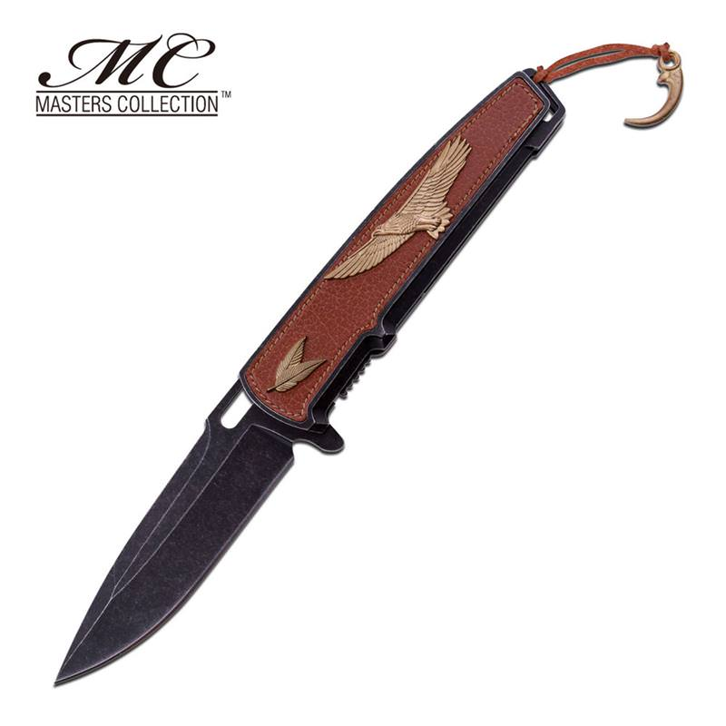 Golden Eagle on Leather Inlay Handle Spring Assisted Pocket Knife