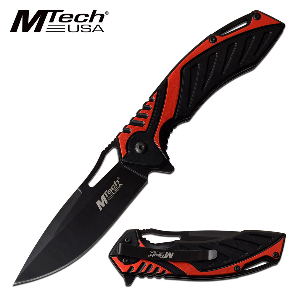 Spring Assist Pocket Knife Black/Red Two Tone Aluminum Handle