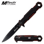 Mtech Pocket Knife Spring Assisted Black Red Aluminum Handle