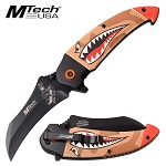 Mtech Spring Assisted Knife Tan Camo Shark Handle Bomber Lady Luck Blade