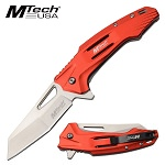 Everyday Carry Mtech Pocket Knife Spring Assisted Red Handle