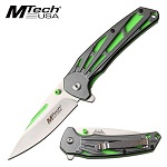 Mtech Pocket Knife Spring Assisted Neon Green Liners