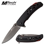 Mtech Spring Assisted 4.75 Inch Black Red Handle Pocket Knife
