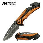 Mtech Etched Blade Spring Assisted Orange Tactical Pocket Knife