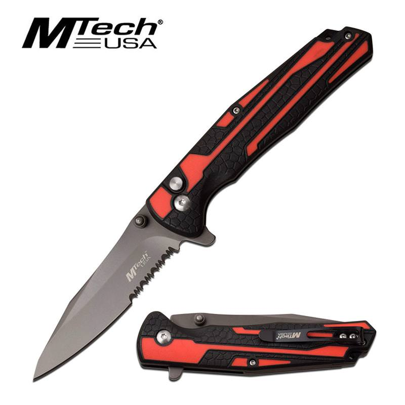 MTech USA Folding Pocket Knife Red And Black Handle Partially Serrated Blade