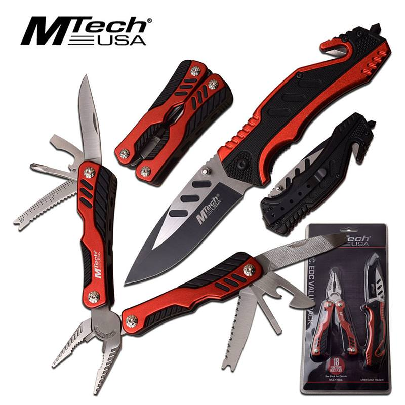 MTech Red Black Tactical Spring Assisted Opening Knife with Multitool
