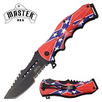 Tactical Blade Pocket Knife Spring Assisted Knife Confederate Flag Handle