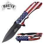 USA Flag Handle Pocket Knife Spring Assisted