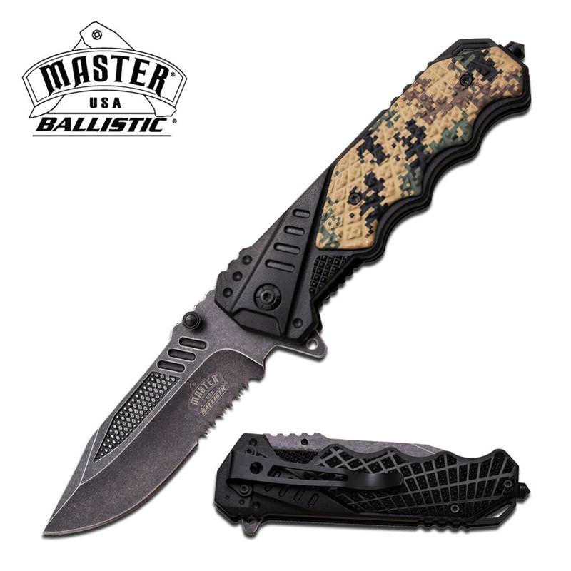 Master Ballistic 4.75 Inch Closed Digital Camo Action Assisted Opening Spring Knife