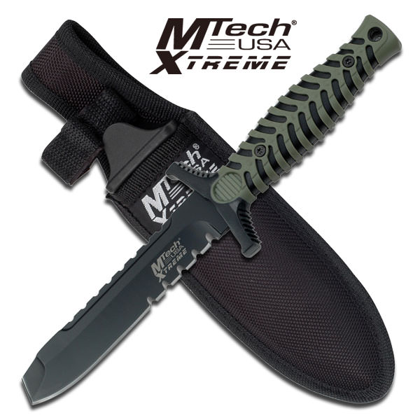 Green Handle 4.25MM Thick Blunt Point Blade Dagger Boot Knife