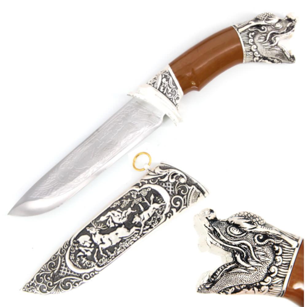 """12.5/"""" DRAGON CLAW Twin Blade Fixed Blade Dagger w// Dragon Hand Guard w// Sheath"""