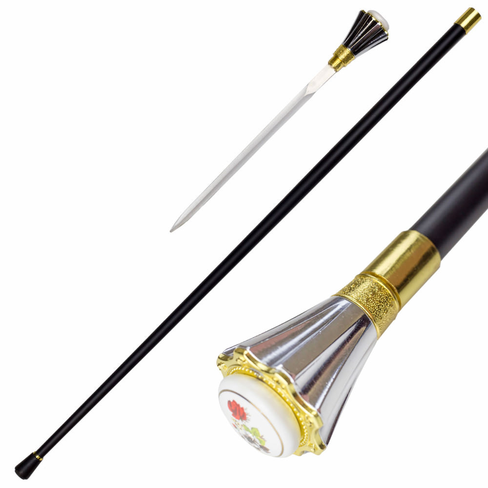 Famille Rose Silver VASE Handle Walking Cane Sword
