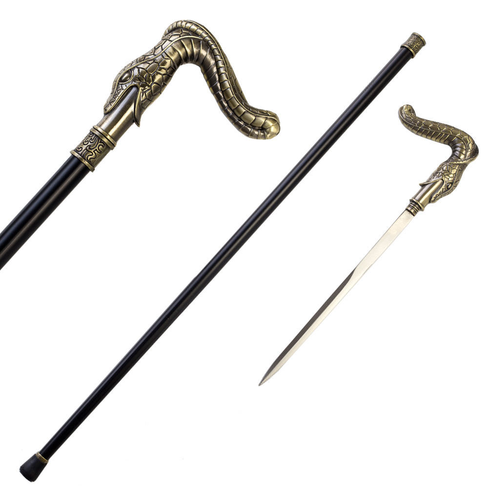 36.5 Inches Brass Finish Burst Snake Head Cane Sword