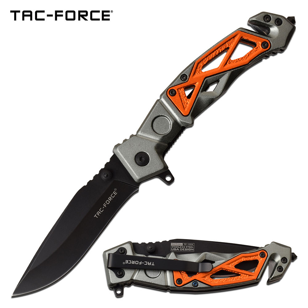 Tactical Spring Assist Knife with Glass Breaker  Belt Cutter Gray Orange