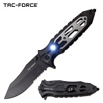 Tac Force Tactical Pocket Knife Spring Assisted Gray LED Handle
