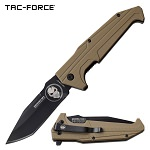 Tac Force Punisher Tanto Blade Pocket Knife Spring Assisted Tan