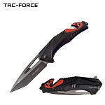 Tac Force Tactical Knife Spring Assisted Red Black Pocket Knife