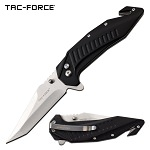 Tac Force Tactical Knife Tanto Blade Spring Assisted Black