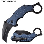 Pocket Knife Blue Karambit Hawk Bill Blade Spring Assisted Knife