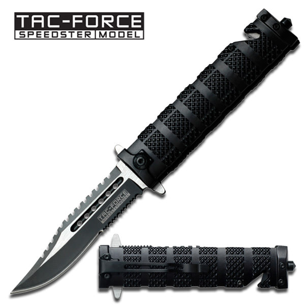 Spring Assisted - 'Legal Auto Knife' - Black Tactical Fighter