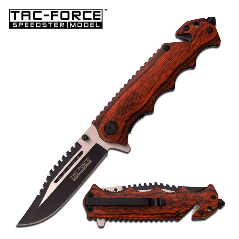 Pakka Wood Handle Spring Assisted Folder Knife - 2 Tone Blade