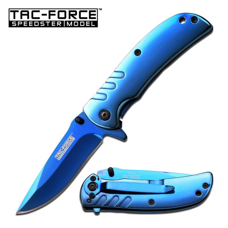 Tac Force Blue Ti-Coating 3.5 Inch Closed Spring Assisted Opening KNIFE