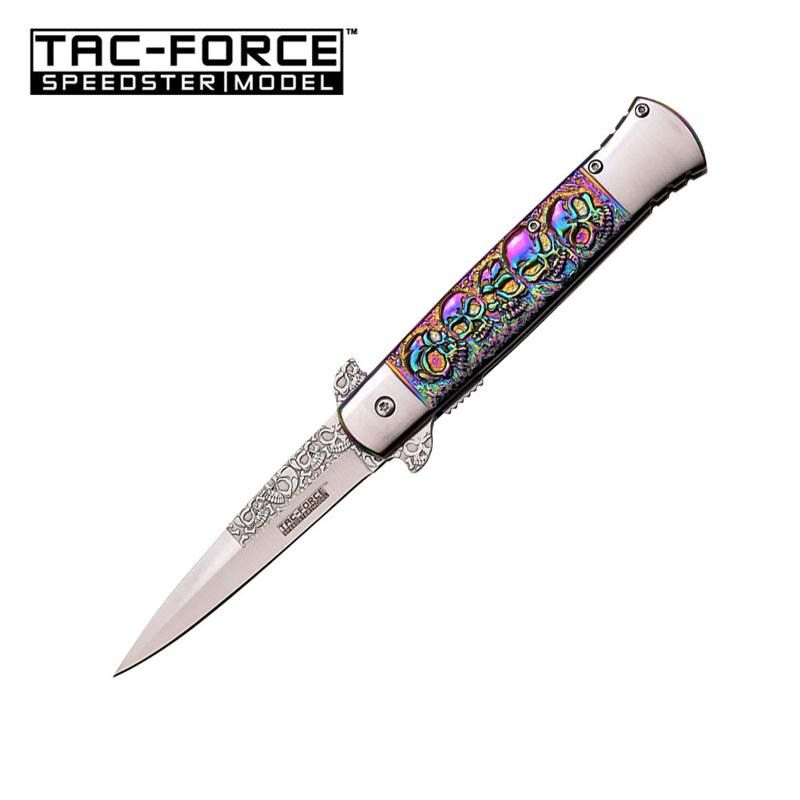 Tac Force 5 Inch Closed Rainbow Spring Assisted Opening Knife