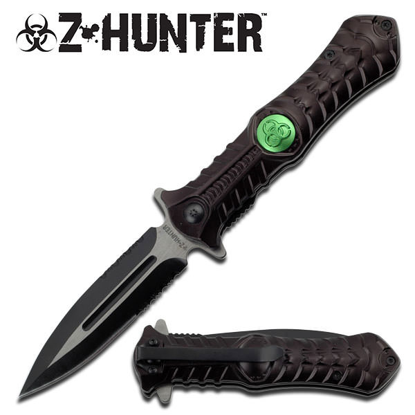 Black Zombie Hunting Combat Stiletto Style Spring Assisted Open Pocket Knife