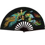Kung Fu Fighting Fan - Phoenix & Dragon with Black Finish