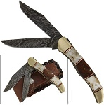 Double Blade Guild Stag Damascus Steel Pocket Knife