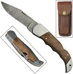 Damascus Lock Blade Pocket Knife 3.75