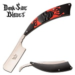 Dark Side Blades Straight Razor Knife Black Skull Handle