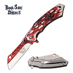 Spider Web Assisted Opening Folding Cleaver Blade Pocket Knife Red