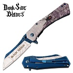 Dark Side Blades Black Widow Spider Spring Assisted Pocket Knife Blue