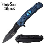 Dark Side Blades Dragon Eye Spring Assisted Pocket Knife Blue Handle